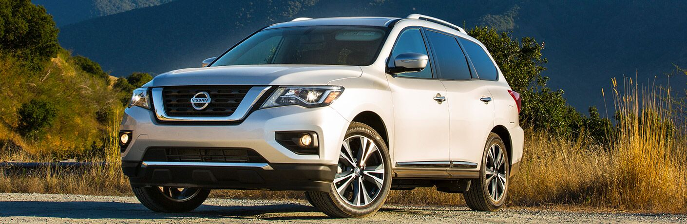 white 2018 nissan pathfinder in wilderness area