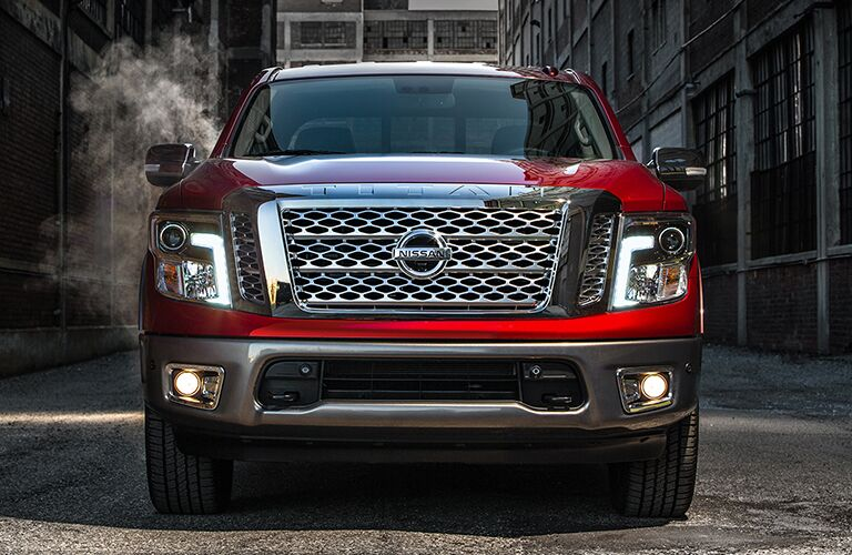 front view of red 2018 nissan titan
