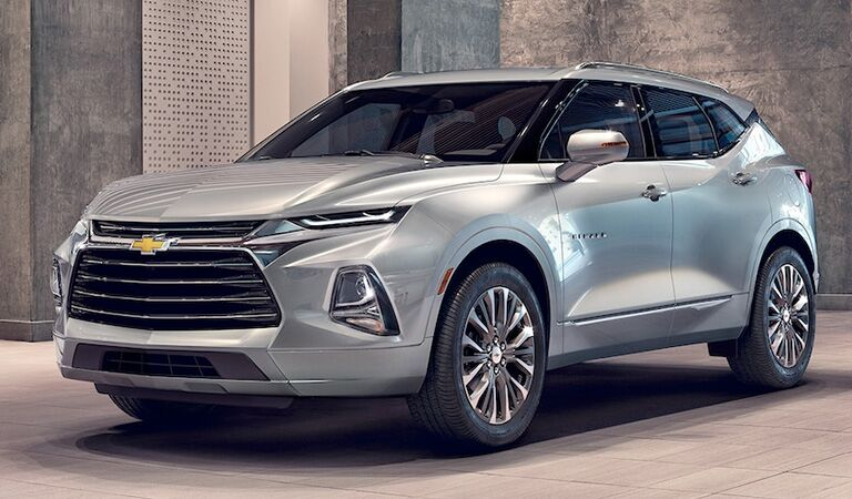 front and side view of silver 2019 chevrolet blazer