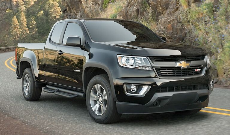 front and side view of black 2018 chevy colorado