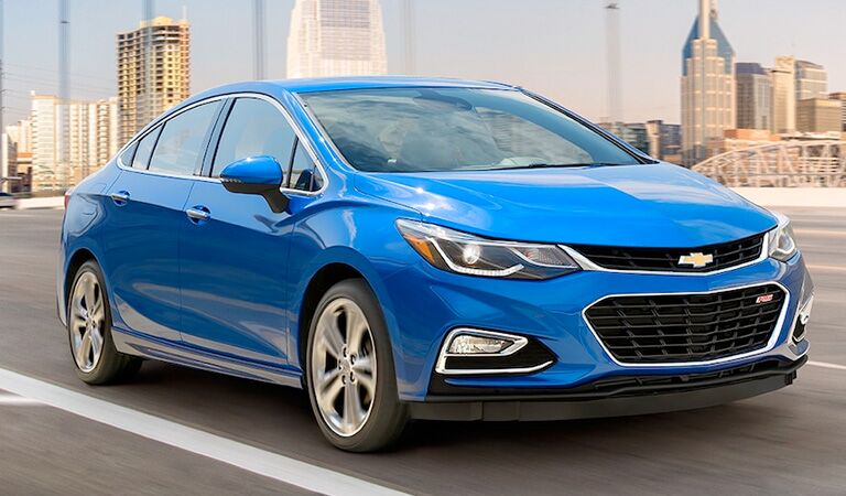 front and side view of blue 2018 chevy cruze