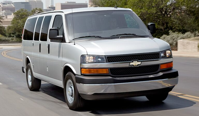 front and side view of gray chevrolet express commercial van