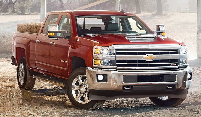 front view of red 2018 chevrolet silverado heavy duty