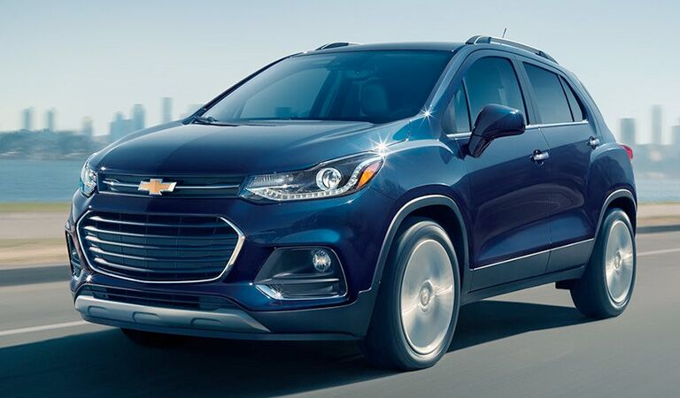 front and side view of blue 2018 chevrolet trax