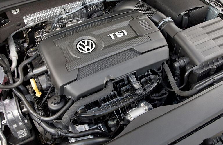 Interior closeup view of the TSI engine of a 2018 Volkswagen Golf