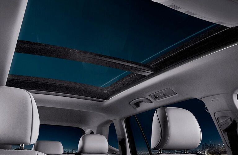 Interior view of a 2018 Volkswagen Tiguan showing panoramic sunroof
