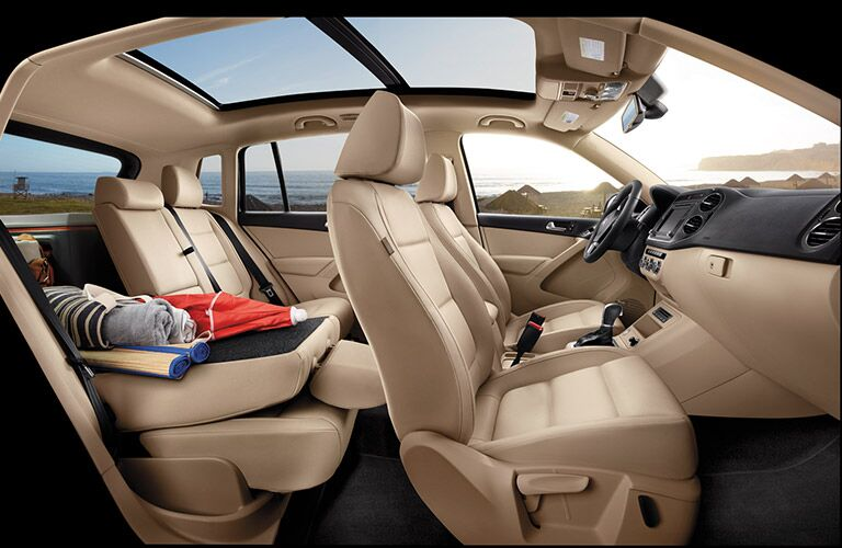 Interior of the 2016 Volkswagen Tiguan with sunroof