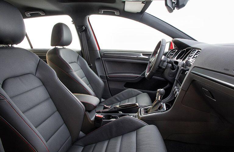 View of black interior of 2018 Volkswagen Golf GTI front seats
