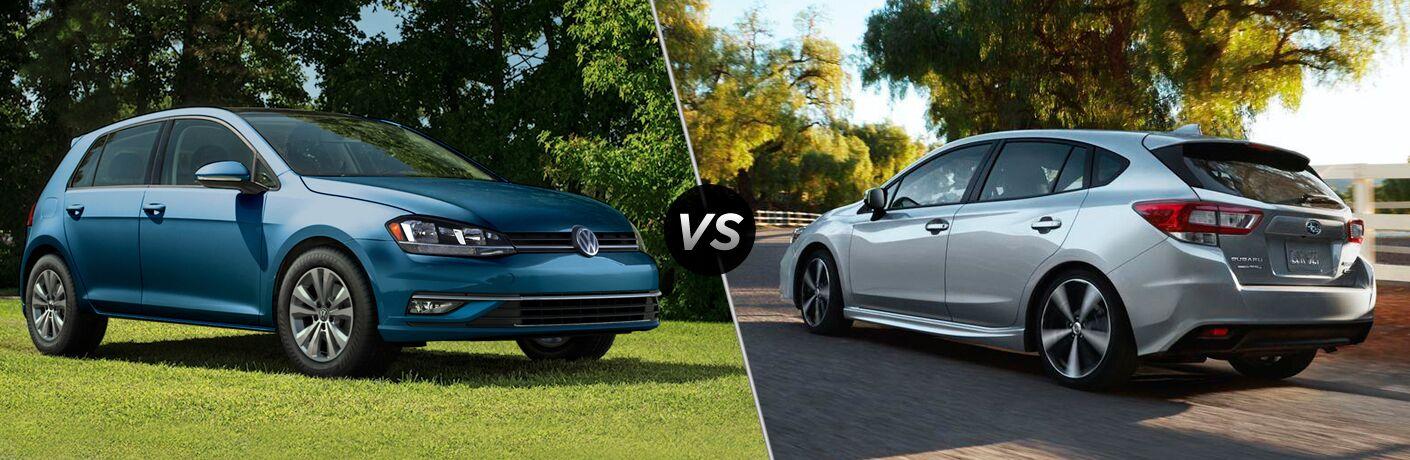 Comparison image of a blue 2018 Volkswagen Golf and a silver 2018 Subaru Impreza