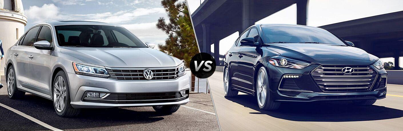 Comparison image of a silver 2018 Volkswagen Passat and a blue 2018 Hyundai Elantra