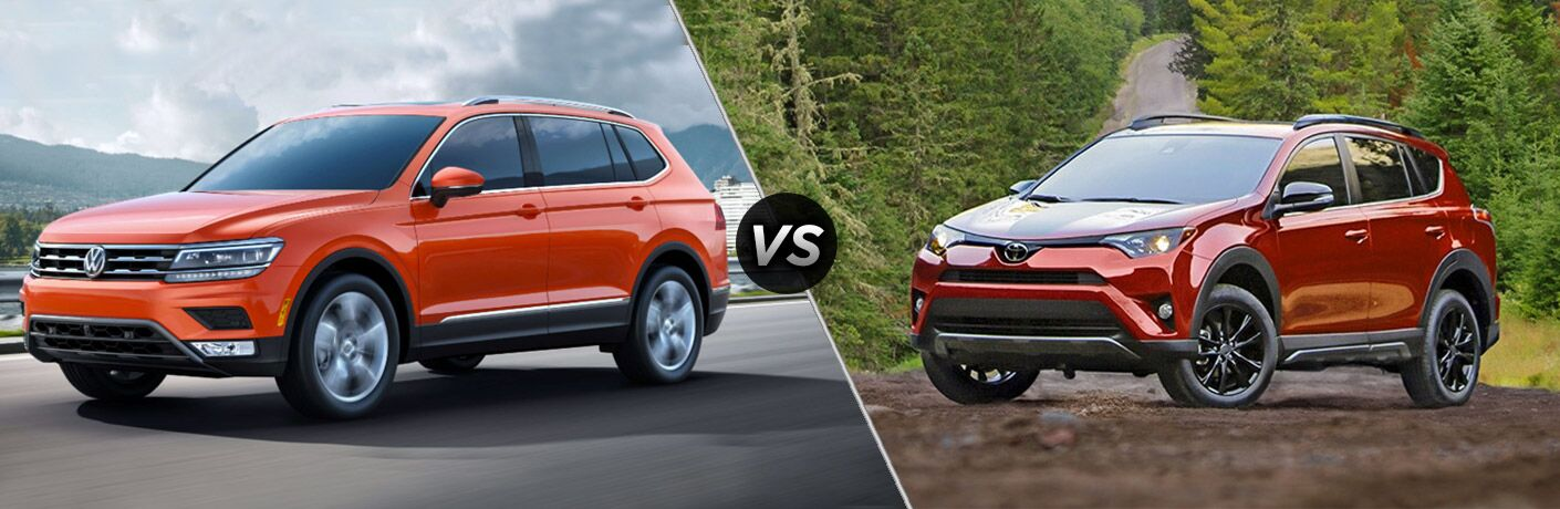 Comparison image of an orange 2018 Volkswagen Tiguan and a red 2018 Toyota RAV4