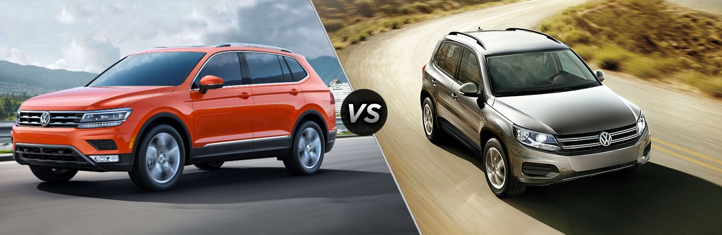 Comparison image of an orange 2018 Volkswagen Tiguan and a silver 2018 Volkswagen Tiguan Limited