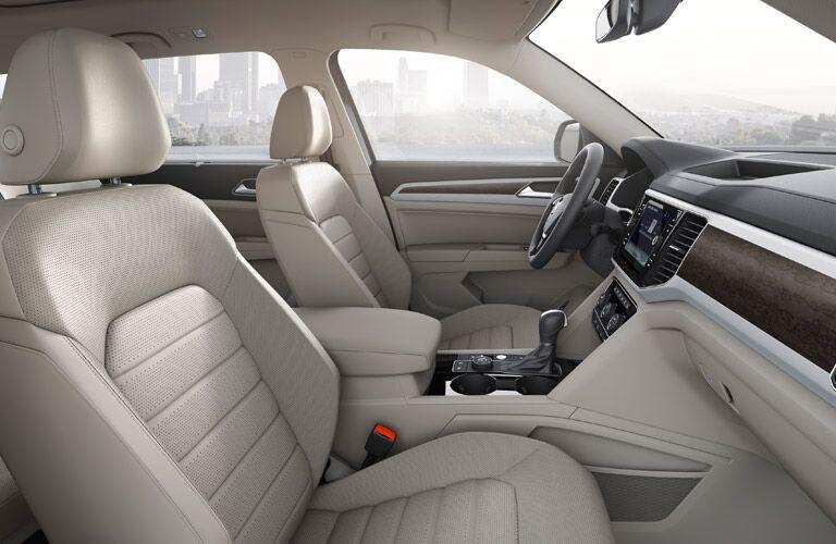 2018 Volkswagen Atlas interior side shot front seating, transmission, steering wheel, and dashboard