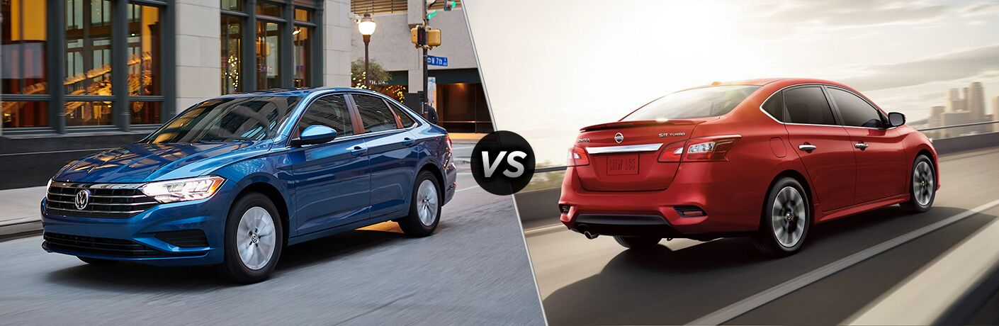 Comparison image of a blue 2019 Volkswagen Jetta and a red 2019 Nissan Sentra