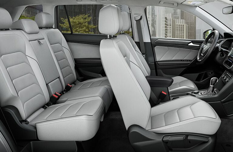 Interior view of the beige seating of a 2019 Volkswagen Tiguan