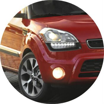 red 2013 Kia Soul headlight and fog light