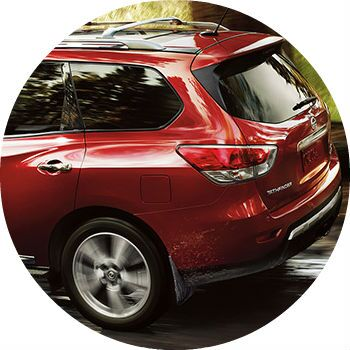 red 2013 Nissan Pathfinder rear cargo door