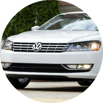 white 2013 VW Passat front grille and headlights