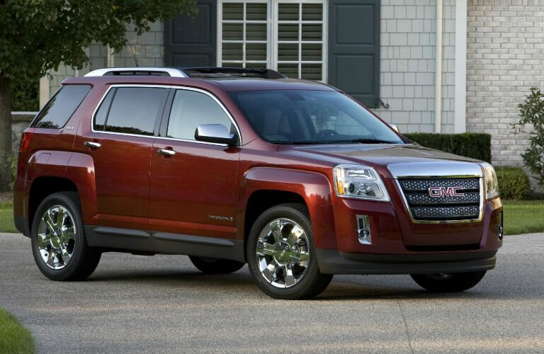 deep red GMC Terrain exterior side