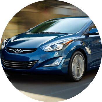 blue Hyundai Elantra exterior front grille and headlights