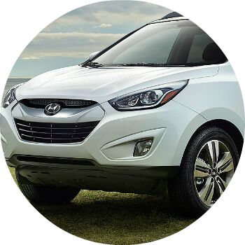 white Hyundai Tucson front grille and headlights