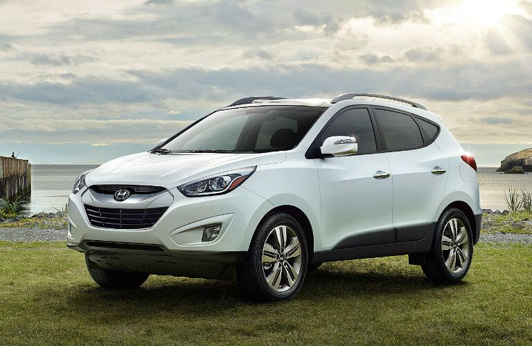 white Hyundai Tucson parked in grass
