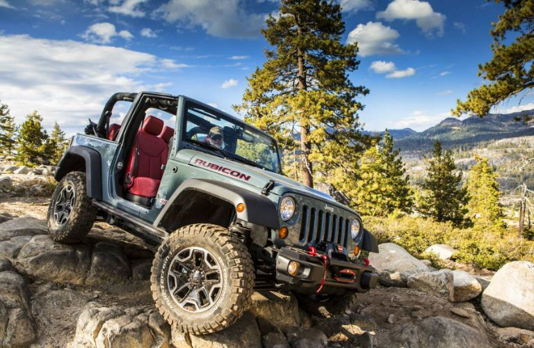 The Jeep Wrangler Rubicon can tackle rocky landscapes.