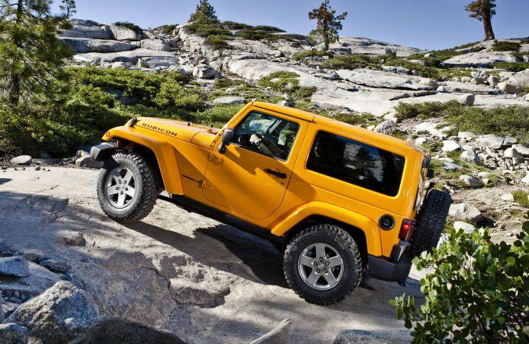 The Jeep Wrangler Rubicon can drive across rough terrain.