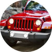 The Jeep Wrangler Unlimited comes in red.