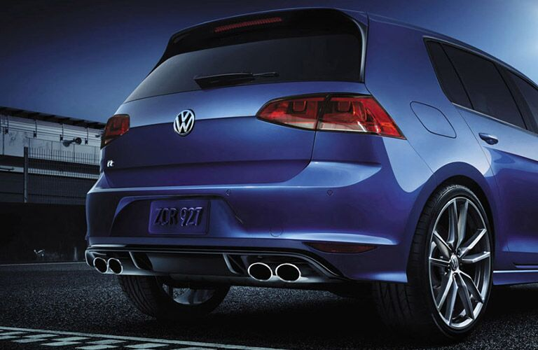 Blue 2017 Volkswagen Golf R Rear with Dual Exhaust
