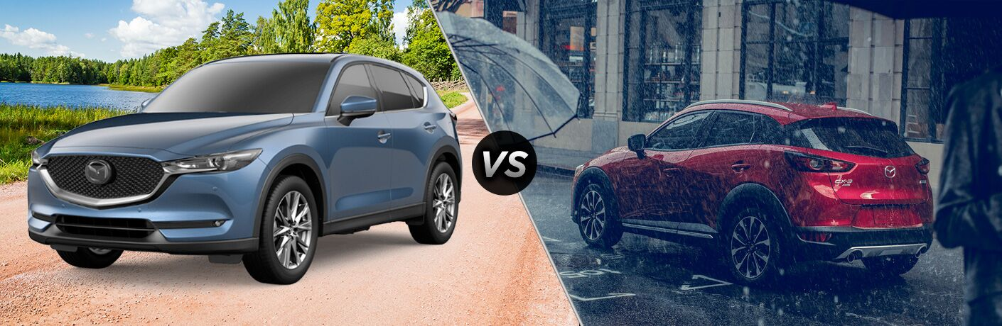 """Blue 2019 Mazda CX-5 and red 2019 Mazda CX-5 separated by a diagonal line and a """"VS"""" logo."""
