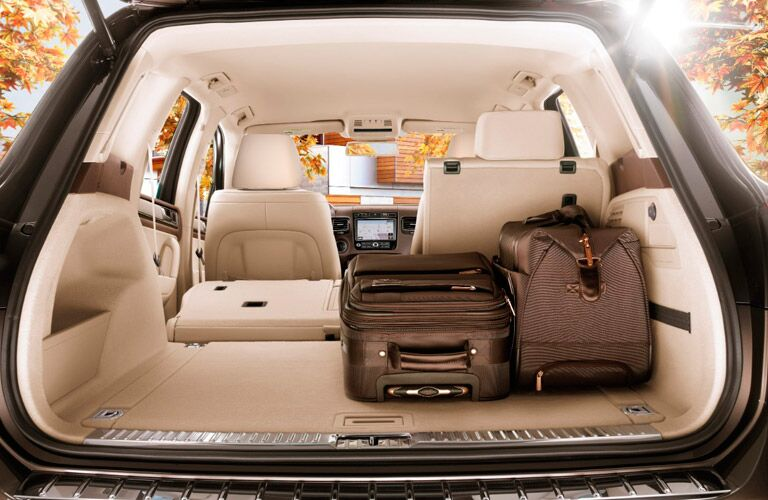 View of the opened, spacious rear cargo area of a 2017 Volkswagen Touareg.