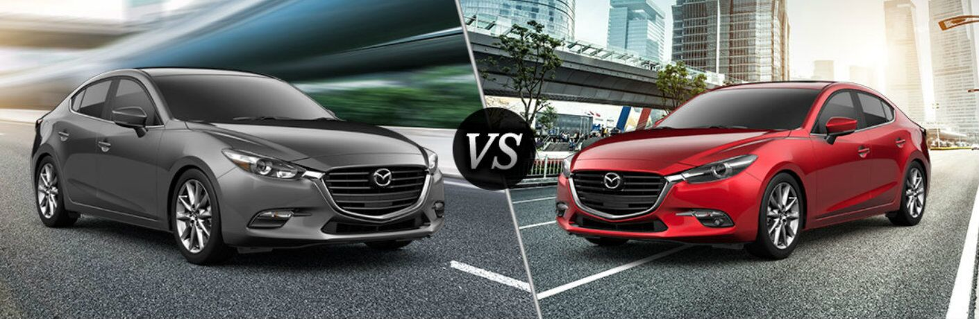 2018 Mazda3 Touring and Grand Touring models positioned next to each other in comparison image