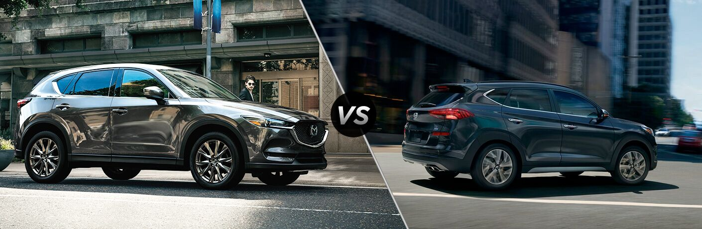 """Silver 2019 Mazda CX-5 and blue 2019 Hyundai Tucson are separated by a diagonal line and """"VS"""" logo."""