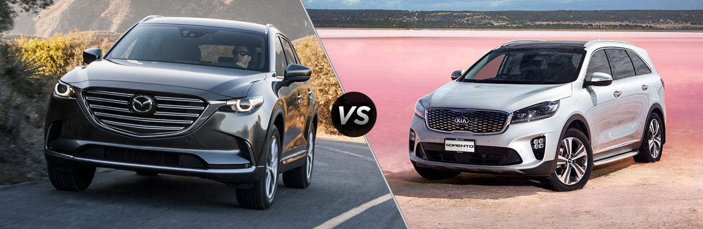 "Dark 2019 Mazda CX-9 and light 2019 Kia Sorento, separated by a diagonal line and a ""VS"" logo."
