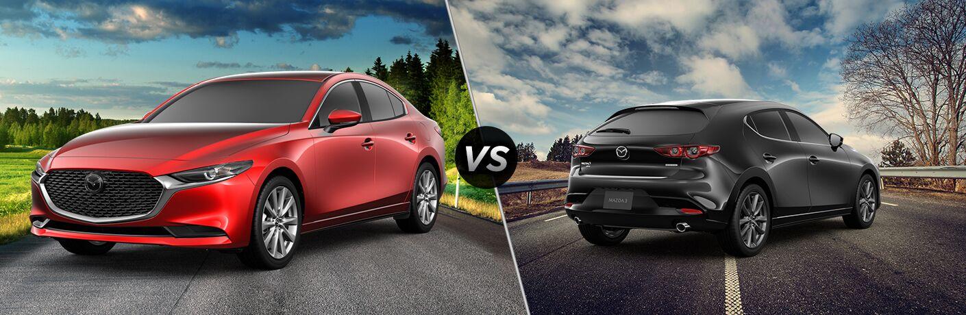 "Red 2019 Mazda3 sedan and dark grey 2019 Mazda3 hatchback, separated by a diagonal line and a ""VS"" logo."