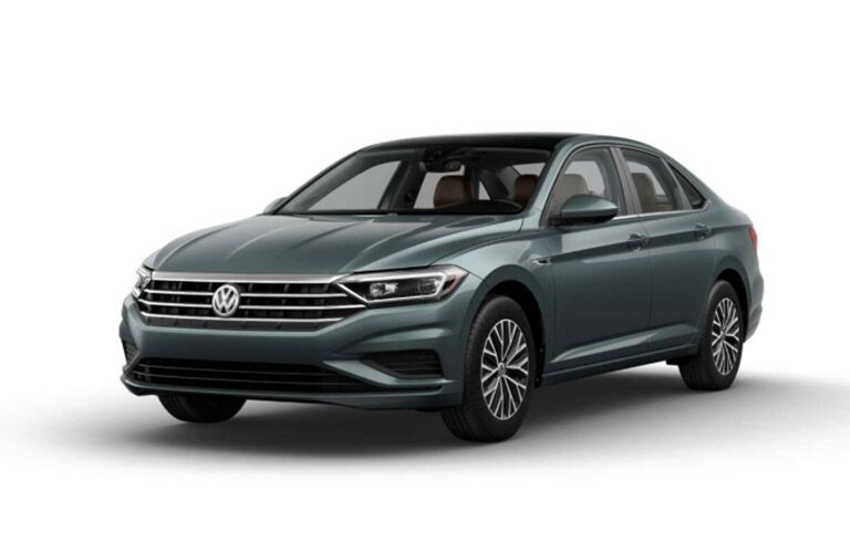 Forest green 2019 Volkswagen Jetta SEL on a white background.