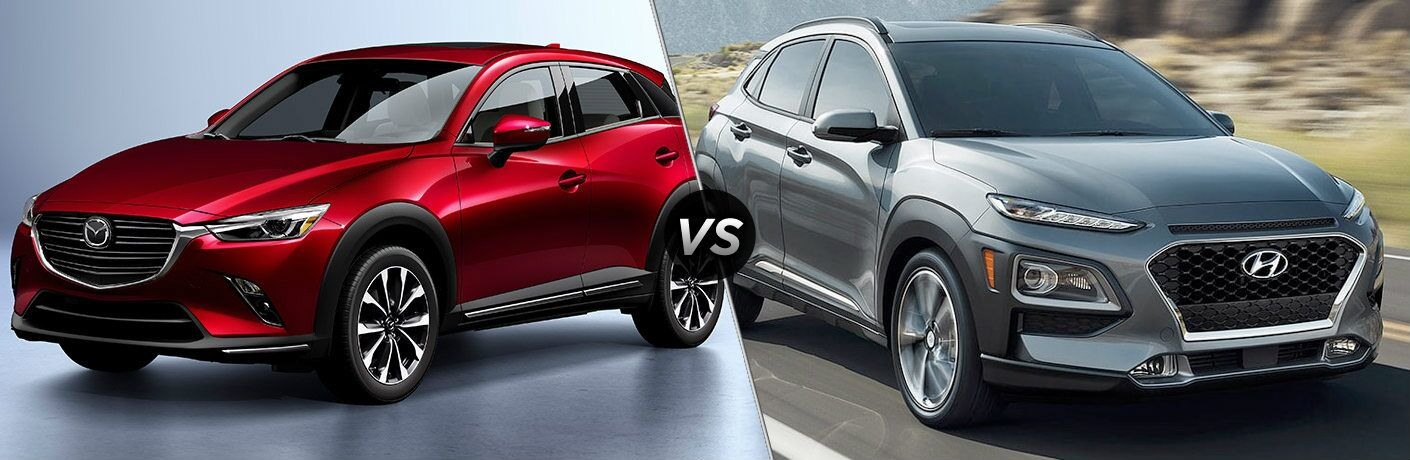 "Red 2019 Mazda CX-3 and silver 2019 Hyundai Kona, separated by a diagonal line and a ""VS"" logo."