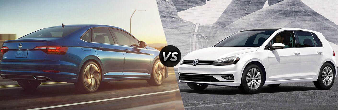 """2019 Volkswagen Jetta and 2019 Volkswagen Golf, separated by a diagonal line and a """"VS"""" logo."""