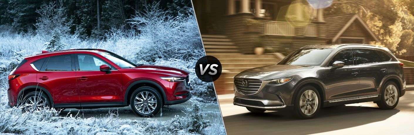 "Passenger side exterior view of a red 2019 Mazda CX-5 ""vs"" driver side exterior view of a gray 2019 Mazda CX-9 on the right"