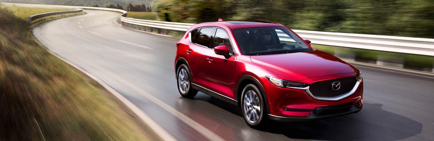2021 Mazda driving on curvy road