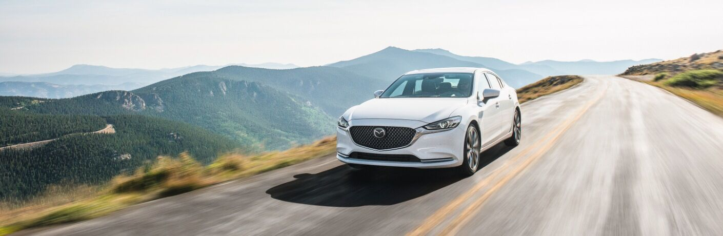 2020 Mazda6 driving on mountain road