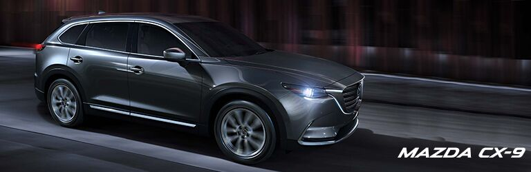 grey 2019 Mazda CX-9 exterior profile with wording in bottom right corner