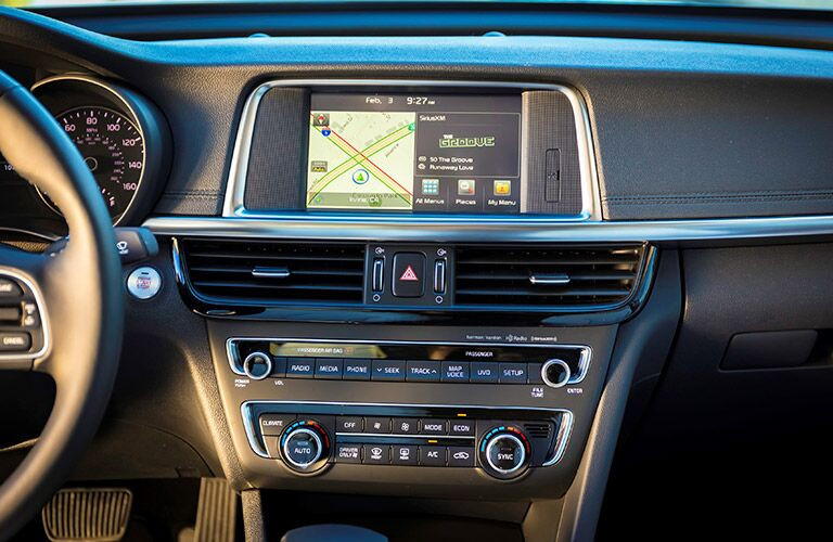 infotainment and climate controls on the 2017 Kia Optima Hybrid