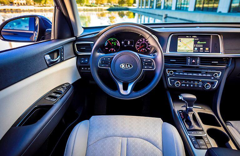 steering wheel and dashboard of the 2017 Kia Optima Hybrid