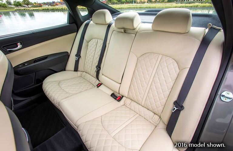 2017 Kia Optima Interior View of Backseats in Cream Leather