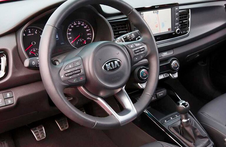 2017 Kia Rio Interior View of the Steering Wheel in Black