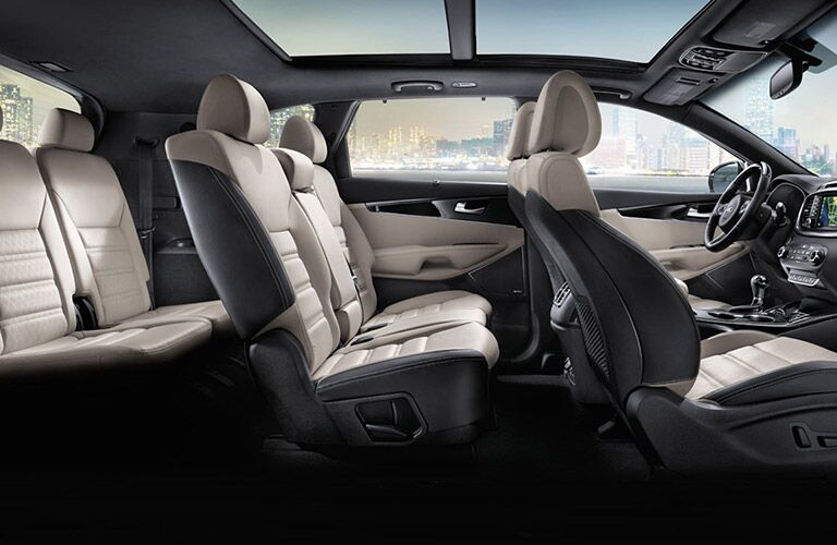 three-row seating and available panoramic sunroof in the 2017 Kia Sorento