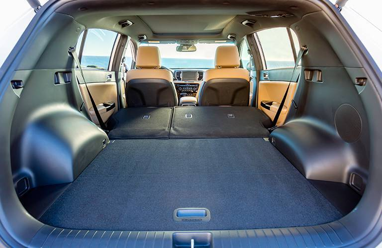 View of Cargo Space with Rear Seats Folded Down in 2017 Kia Sportage