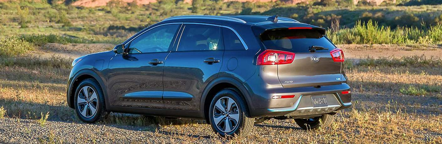 2018 Kia Niro Rear View Parked in a Grassy Field